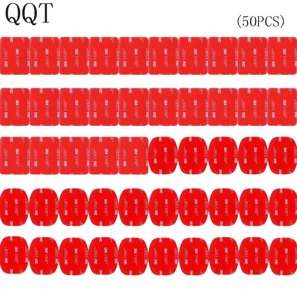 QQT 50 unids para Gopro hero 5 4 3 + 3 2 SJ4000 rojo 3 M VHB adhesivo 25 curva 25 plana doble cinta adhesiva de montaje de casco