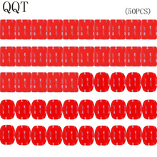 Qqt 50 個のgopro hero 5 4 3 + 3 2 SJ4000 赤 3 メートルvhb粘着ステッカー 25 曲線 25 フラット両面接着テープマウントヘルメット