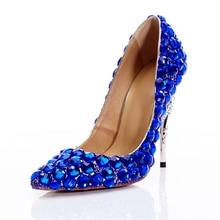 Wedding Pumps Women High Heels Crystal Royal Blue Shoes Metal Heels Rhinestone Luxury Bridal Stiletto