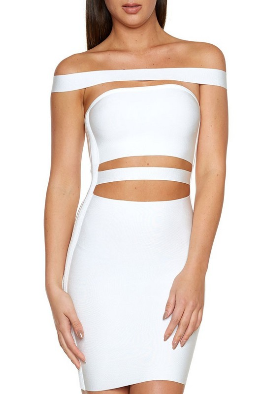 90c25b62f95 2016 women white black off shoulder cut out olive bandage dress sexy women  dress Khloe Kardashian dress dropshipping-in Dresses from Women s Clothing  on ...