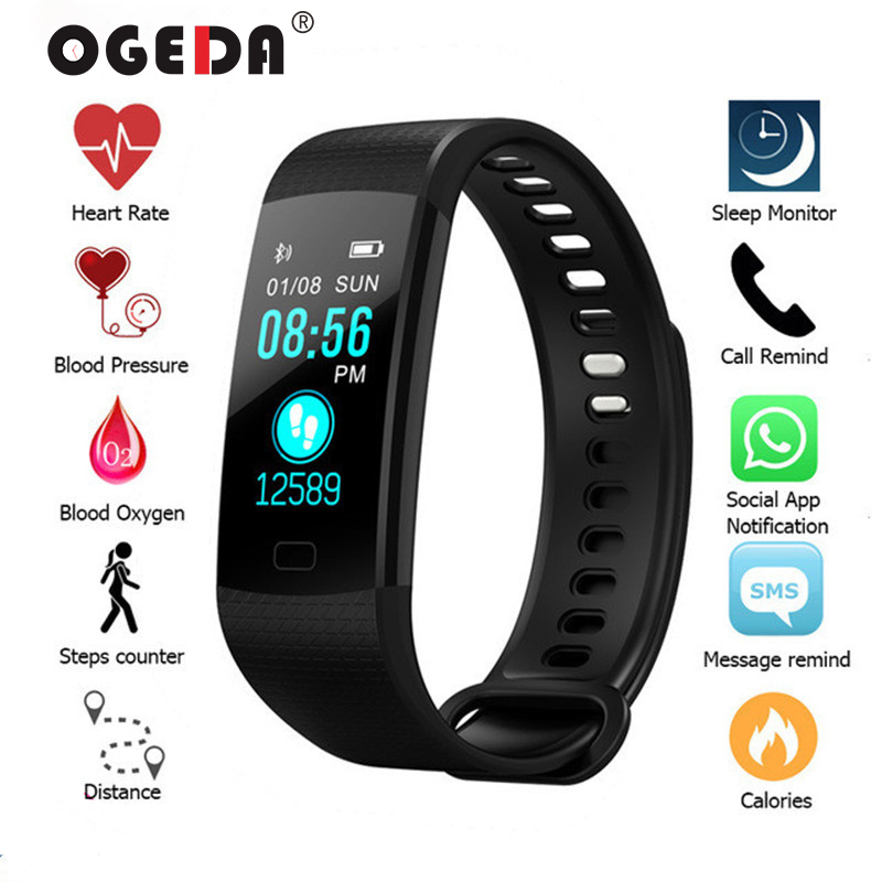 2019 Smart Watch Women Men Sport Fitness Intelligent Wristband Heart Rate Blood Pressure Color Screen Reloj Digital Mujer Clock(China)