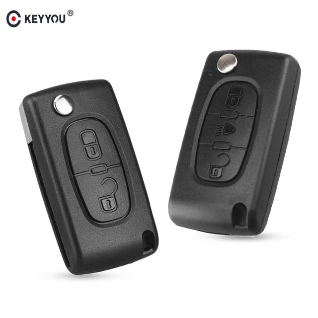 KEYYOU Flip plegable 2/3 botón coche remoto llave carcasa para PEUGEOT 206 307 308 207 407 408 para Citroen c2 C3 C4 C5 C6 C8