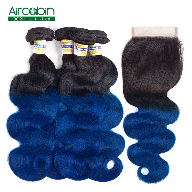 AirCabin Pre-Colored Ombre Body Wave Bundles with Closure T1B/Blue Dark Roots Blue Brazilian Hair with Closure Non Remy