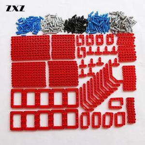 Image 1 - Bulk Bouwstenen Bricks Technic Onderdelen Liftarm Beam Connectors Pin Moc Auto Bus Trein Vliegtuig Accessoires 370 Pcs
