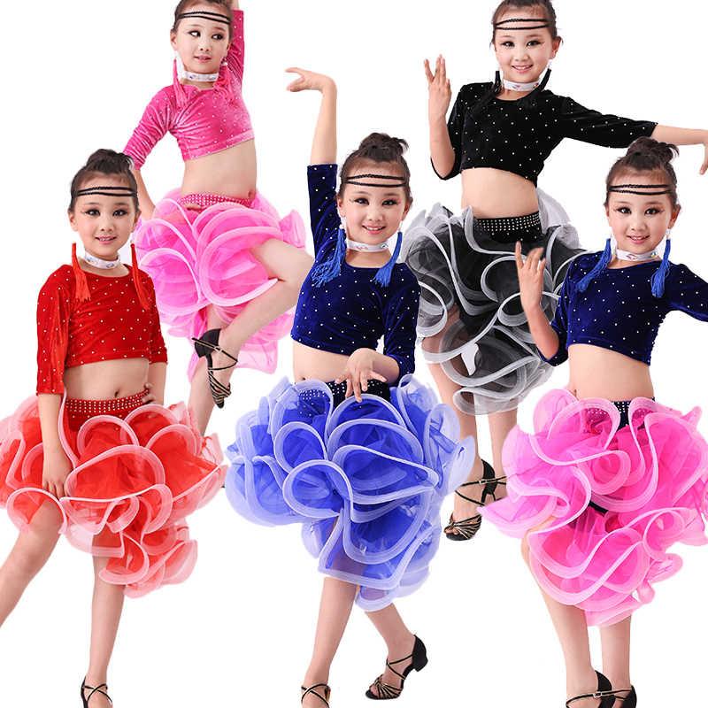 2d4fff49fe10 Kids Ballroom Dance Wear Salsa Tango Rumba Samba Costume velvet children  professional latin dance dress for