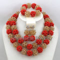 Luxury Red/Champagne Gold African Beaded Jewelry Set Nigerian Wedding Crystal Beads Necklace Set Free Shipping GS753