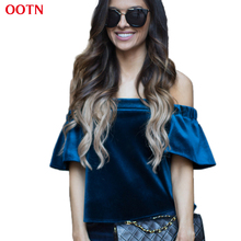 OOTN LDBX002 Blue slash neck cotton velvet t shirt women solid fashion short flare sleeve off the shoulder 2017 spring summer