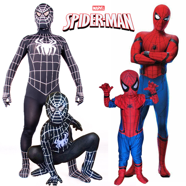 Spiderman Homecoming Costume New Kids Teen Boys Superhero Cosplay Spandex Full Body Zentai Suit Black Spiderman  sc 1 st  AliExpress.com & Spiderman Homecoming Costume New Kids Teen Boys Superhero Cosplay ...