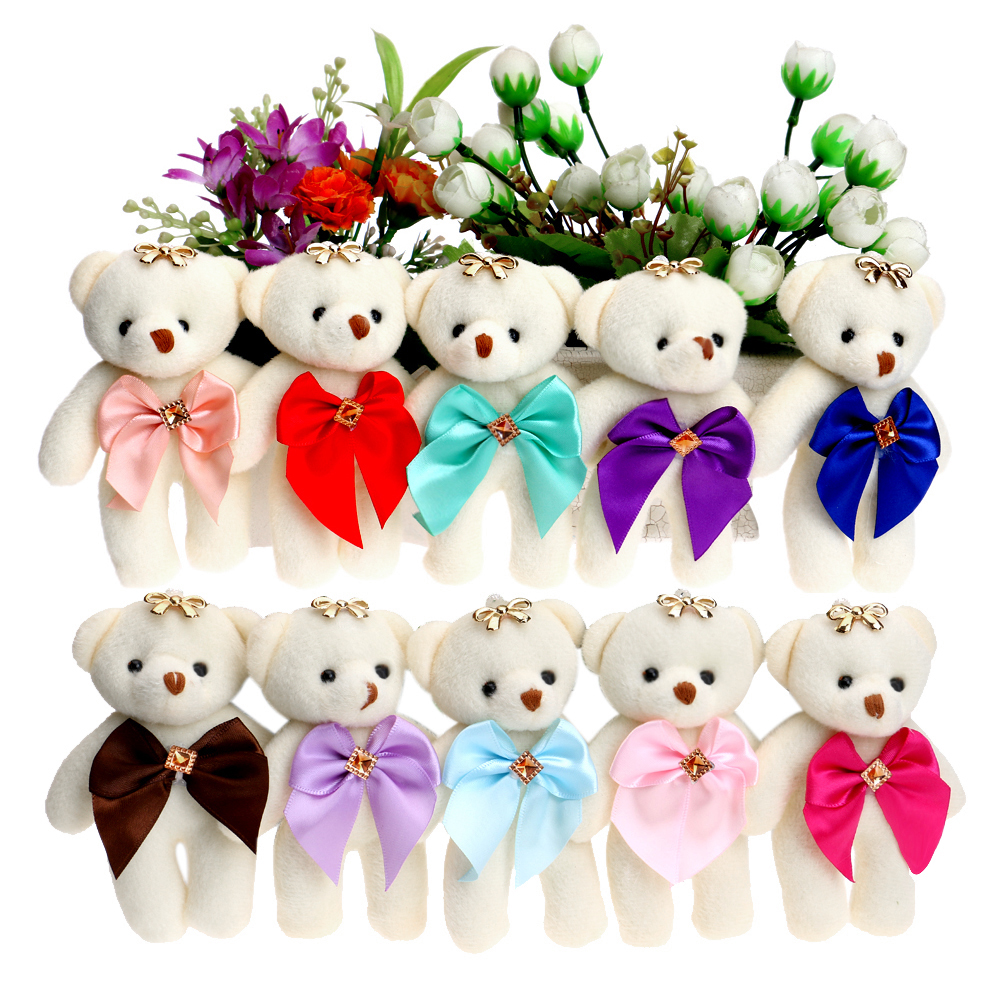 For Christmas Gift Candy Bow Bear Plush Toys Satin Cartoon Bouquet Plush Bear Doll Wedding Children Toy Phone Key Pendant