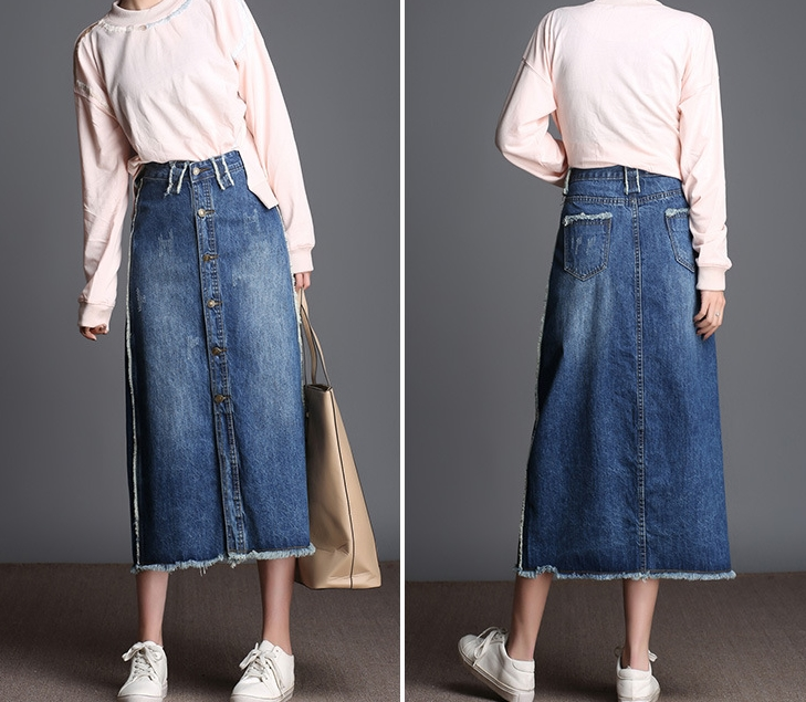 2019 New arrival Personality denim with tassel F20190304