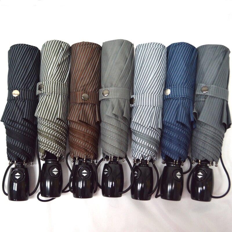 Новый полностью автоматическая три складной зонт мужской/женский коммерческий компактный большие сильные Рамки ветрозащитный 8 ребер Зонты 7 цвет
