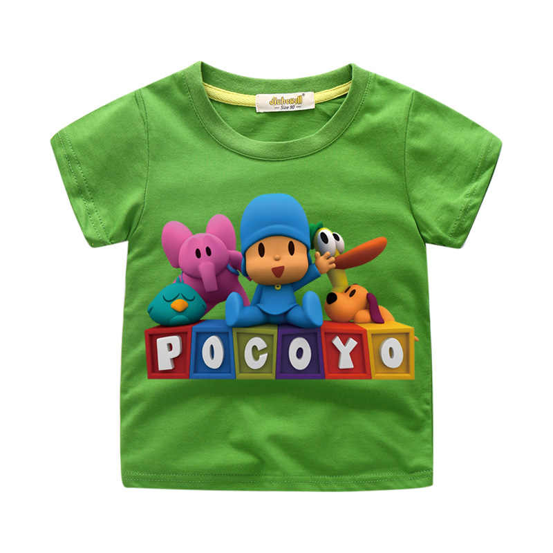 Crianças Dos Desenhos Animados Pocoyo Corte De Impressão T-shirt Roupas Para Crianças Curtas Verão Tee Tops Traje Menino Camiseta Camisa Das Meninas T de Roupas WJ021