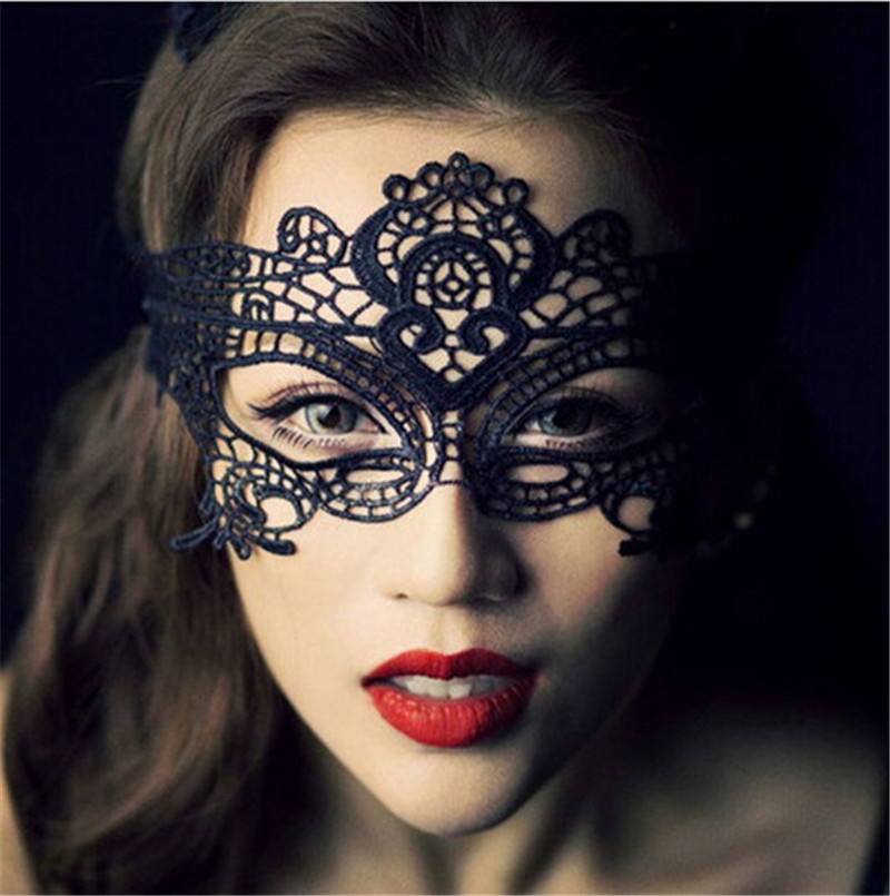 Sexy black lace hollow mask goggles nightclub fashion queen female sex lingerie Cutout Eye Masks for Masquerade Party Mask