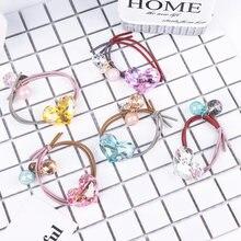 Модное кольцо для волос со стразами и кристаллами в виде сердца, канатная Резиновая лента для волос карамельного цвета, аксессуары для дево...