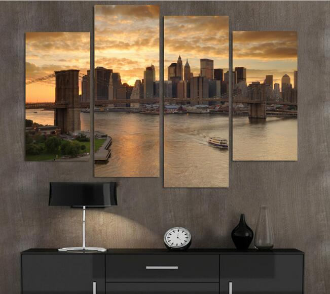4p New York City At Dusk Landscape Home Decor Wall Art