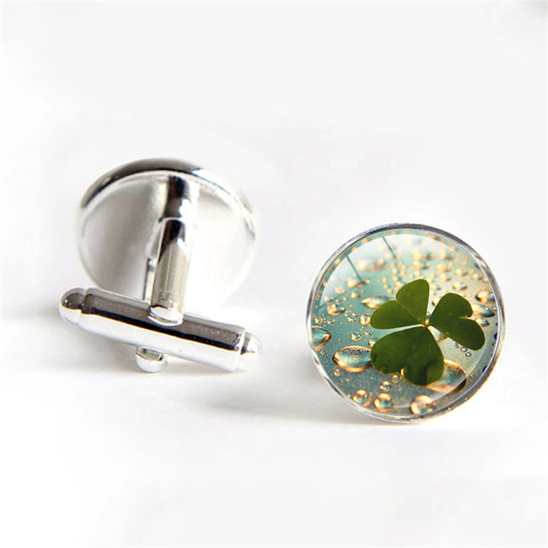 Four Leaf Clover Clover Wedding Cufflinks Lovers Jewelry Four Leaf Clover Fashion Shirt Cufflinks for Mens Fathers Day Gifts