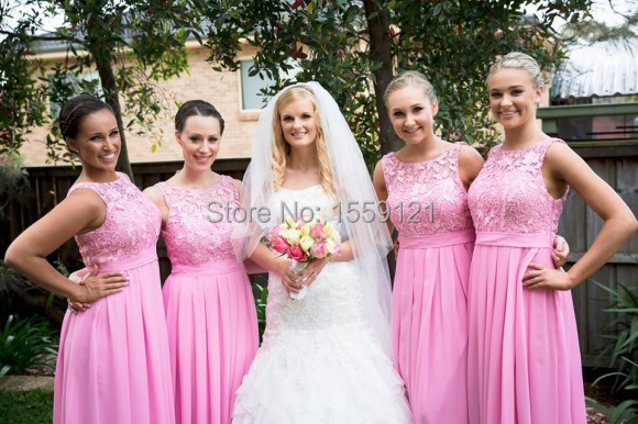 Beige Chiffon Bridesmaid Dress 2017: Long Dusty Pink Bridesmaids Dresses 2017 Chiffon A Line