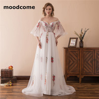 2018 Sexy Illusion Wedding Dresses A Line Tulle Flower Pattern High Quality Lace Up Off The