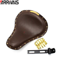 Motorcycle Universal Black/brown Solo Driver Seat with Springs Bracket Mount For Harley Softail Chopper Bobber