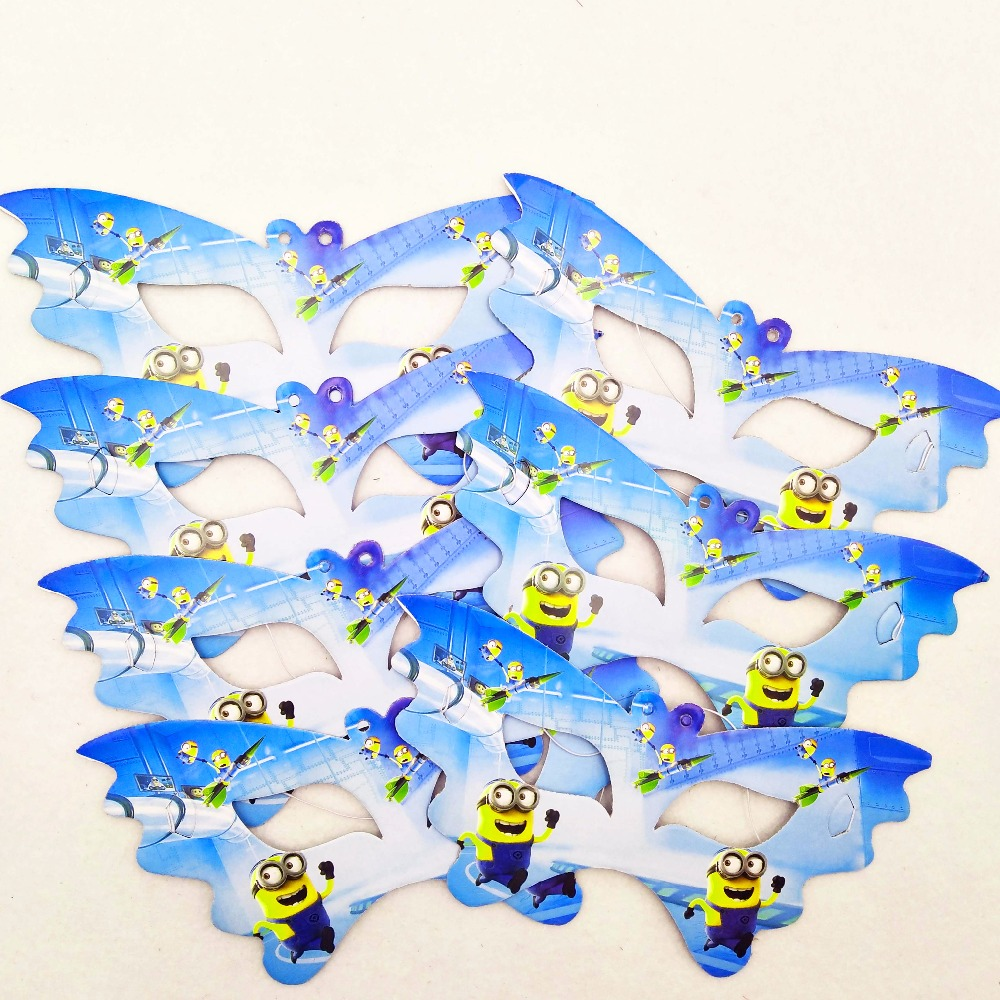 10pcs set Minions Mask Christmas Halloween Party Supplies Happy Birthday Party Decoration For Kid Party Wholesale supplies favor in Party Masks from Home Garden