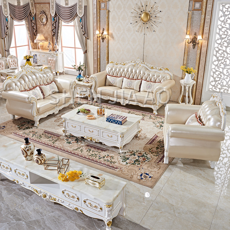 European Leather Sofa Combination Living Room First Layer Luxury Leather Sofa French Solid Wood Carving Leather Art Sofa 1PC