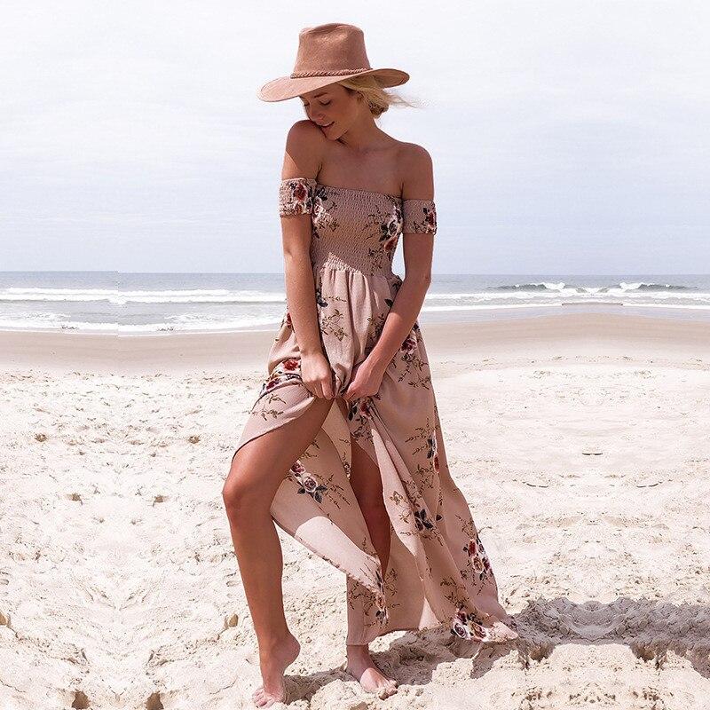 Women Off Shoulder Dress Fashion Beach Summer Dresses Ladies Strapless Long Maxi Dress 1