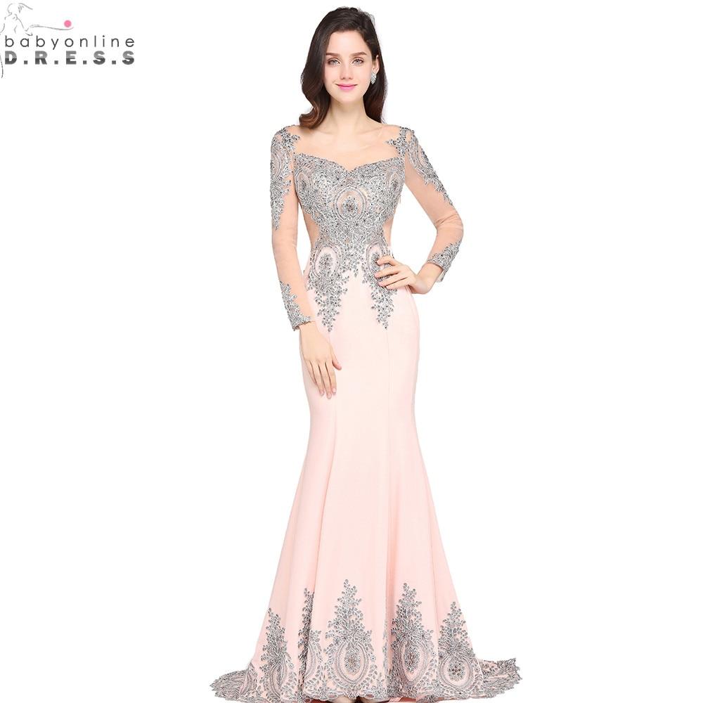 Vestido de Festa Sexy Sheer Back Sliver Beaded Lace Pink Mermaid Evening Dress  Long Sleeve Evening Gown Robe de Soiree