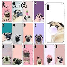 RuiCaiCa Animal Bonito Cão Pug Coque Shell Caso de Telefone para o iphone 8 7 6 6 S Plus X XS MAX 5 5S SE XR 10 Capa Capa(China)