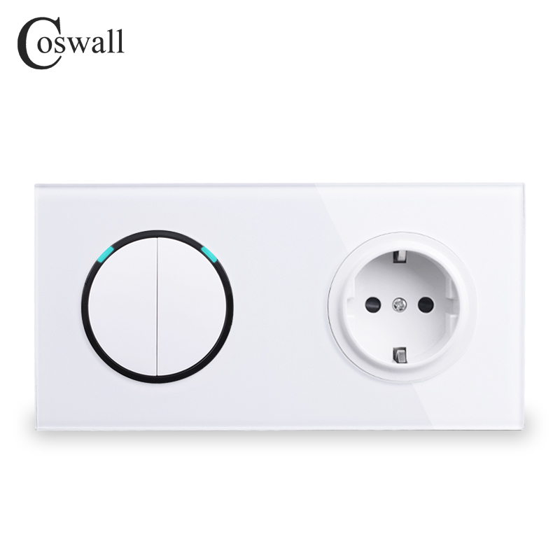 Coswall White Glass Panel EU Standard Wall Power Socket + 2 Gang 2 Way On / Off Pass Through Light Switch Switched LED Indicator