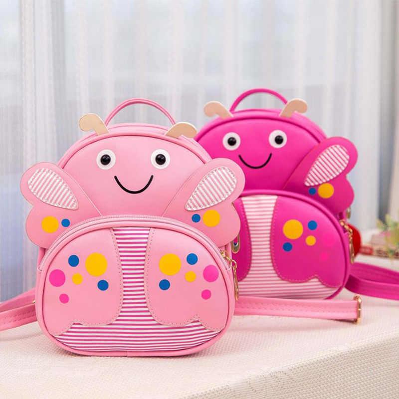 Мини Дети искусственная кожа Бабочка Рюкзак детский сад Школа Книга сумка пчела Kawaii розовый маленький школьный для маленьких девочек