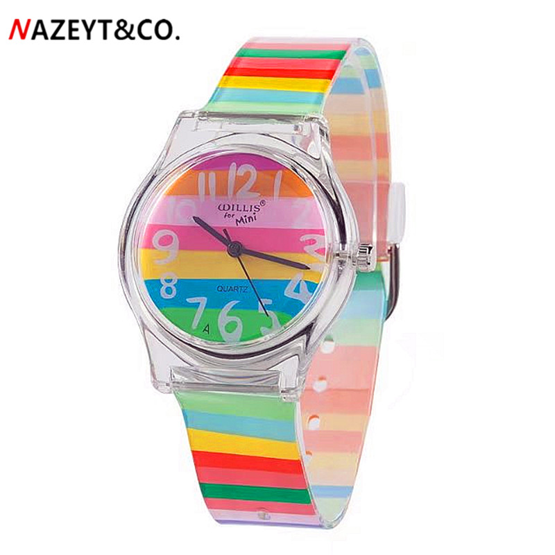 Luxury Brand Women Man Fashion&casual Rainbow Color Wristwatches Children Heart Flower Waterproof Watches Xmas Gift Watch