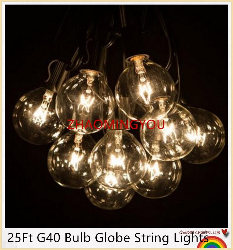 YOU 25Ft G40 Bulb Globe String Lights With Clear Bulbs Backyard Patio Lights,  Vintage Bulbs ,Decorative Outdoor Garland Wedding