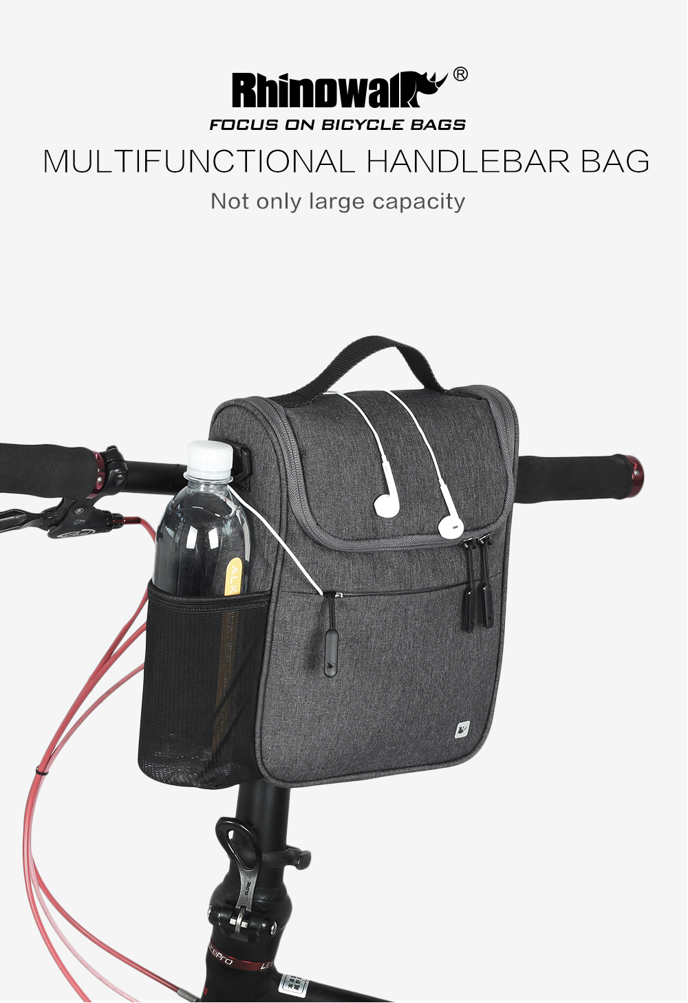 Multifunction Waterproof Bicycle Saddle Bag 5L Large Capacity MTB Road Bike Front Tube Bag Cycling Shoulder Bag With Cover