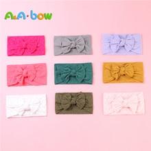 1pcs New Braid Nylon Bow Headband for Baby Girl Solid Wide Heandwear Turban Head Wrap Hair Accessories Free Shipping