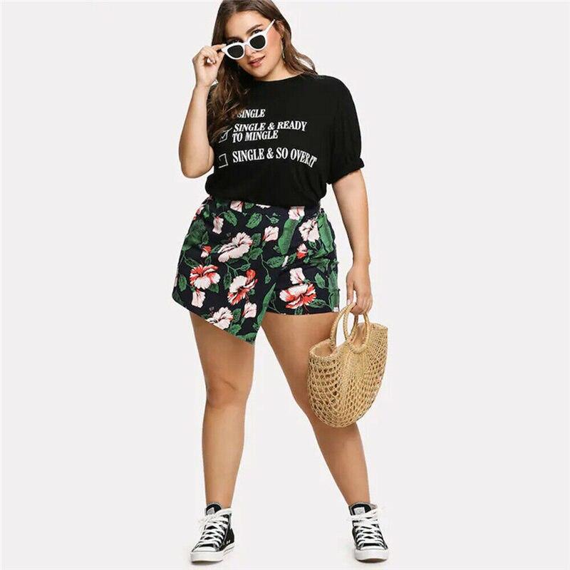 Sexy Women Summer Beach Plus Size 4XL Floral Print Boho Shorts Hot Girls High Waist Skirt Shorts Pantalones Cortos De Mujer C