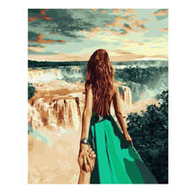 WEEN Framed Couple Travel Waterfall Diy Painting By Numbers Acrylic Picture Modern Wall Art Handpainted Oil For Home