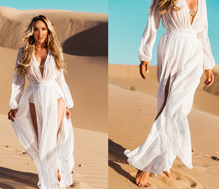eb9e363d68360 2018 White Chiffon Bikini Cover Ups Beach Tunic Sexy Deep V Sarong Robe de  Plage Beachwear Kaftans Womens Long Beach Dress from Reliable Cover-Ups  suppliers ...
