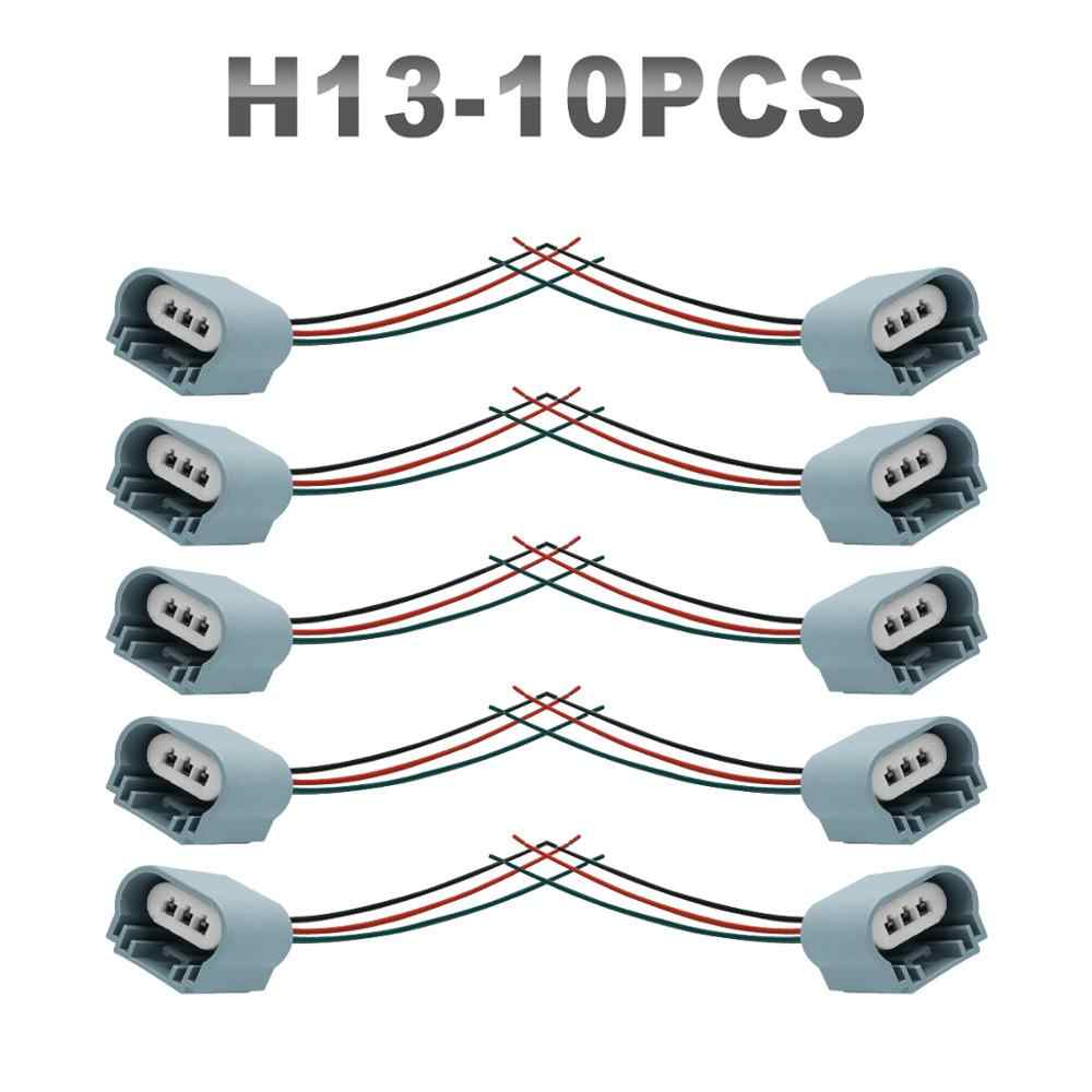 JGAUT 10 Pieces H1 H7 H13 H8 H9 H11 9007 Auto Wires Connector Of Daytime Running Lights Led Wiring Harness High Quality