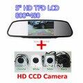 """5 """" HD 800 * 480 TFT LCD carro espelho retrovisor Monitor + CCD câmera reversa de backup, Estacionamento sysytem"""