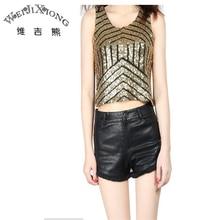 Wei JiXiong 2017 New Summer Female Blusas Feminino Sequin Skinny Tank Top U-Neck Fashion Camisole Elastic Vest Crop Short Tops