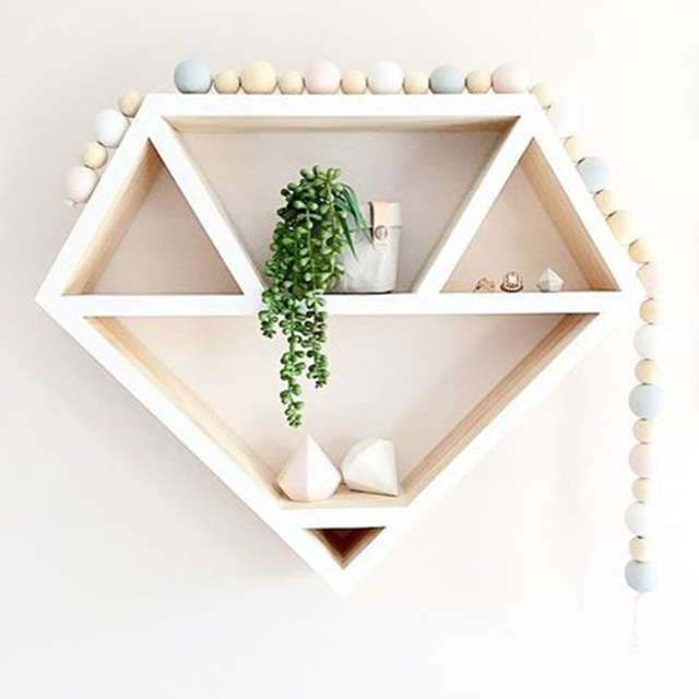 Home Wall Storage Inside Sibaolu Nordic Wooden Wall Storage For Home Decor Wood Craft Shelves Diamond Shape