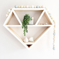 SIBAOLU Nordic Wooden Wall Storage For Home Decor Wood Craft Shelves For Wall Diamond Shape Wall Shelf For Living Room Decor