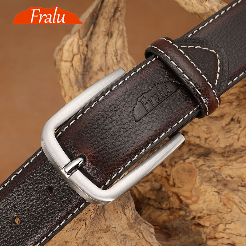 FRALU Belt Male Leather Belt Men Male Genuine Leather Strap Luxury Pin Buckle Belts For Men Belt Cummerbunds Ceinture Homme