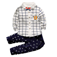 Baby Boy Clothes 2017 Fall British Style Long Sleeved Plaid Shirt Pants 2 Piece Children S