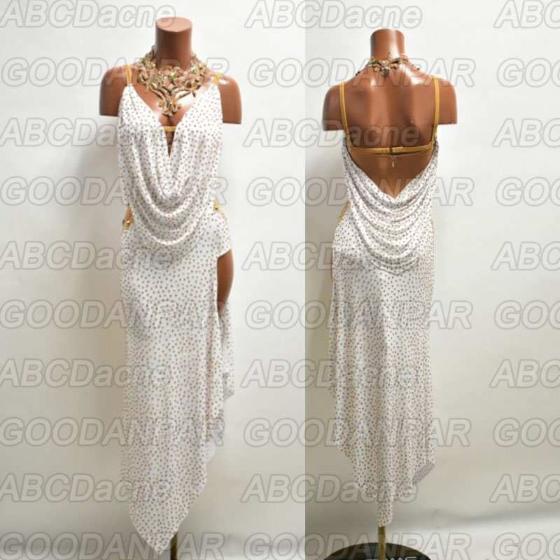 Latin Dance Dress Women White Sleeveless Sexy Backless Dress For Latin Dancing,salsa Tango Long Dress Custom-handmade