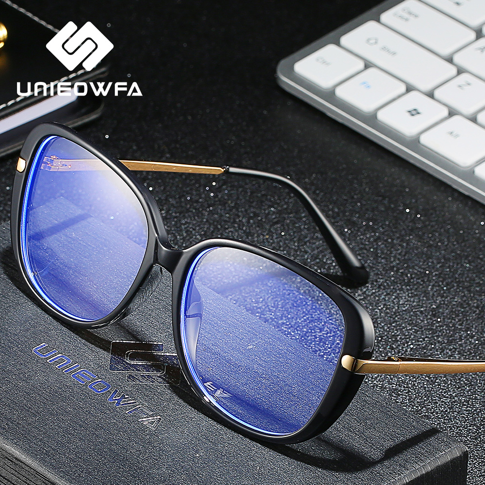 UNIEOWFA Retro Oval Prescription Glasses for Women Optical Anti Blue Light Eyewear Myopia Progressive Eyeglasses Photocromic New(China)