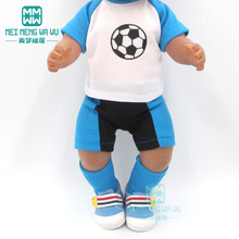 Dolls clothes for 17inch 43cm toy new born doll accessories Clothes Blue football baby set