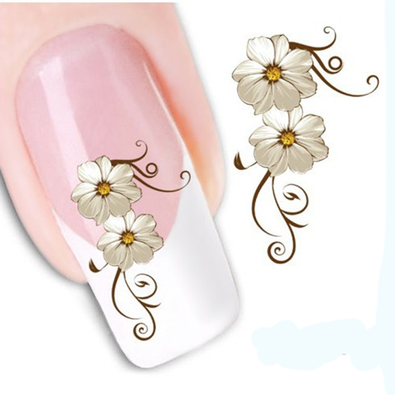 цены 1PCS Water Nail Art Transfer Nail Sticker Water Decals Beauty Flowers Nail Design Manicure Stickers for Nails Decorations Tools