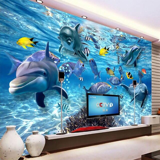 HD Underwater World Deep-sea Fish Photo Wallpaper 3D Stereo Cartoon Mural 3D  Kid's Room