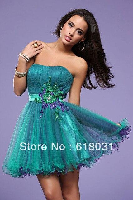 2b3ed0e4262 2014 new bridesmaid strapless appliques A line mini length multi color 2014  teal purple short prom